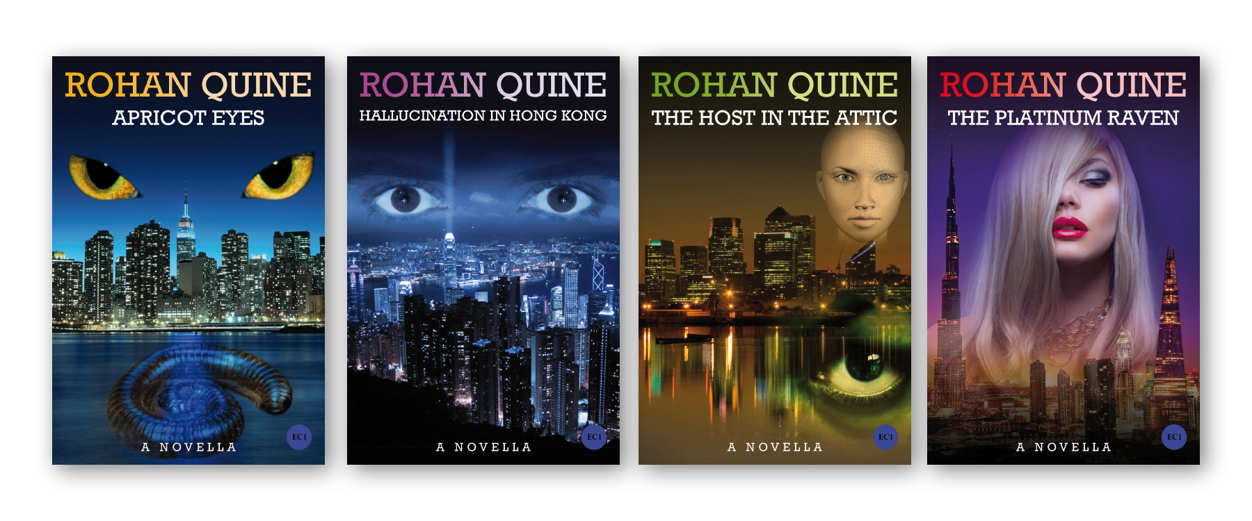 Covers of Rohan Quine's four novellas