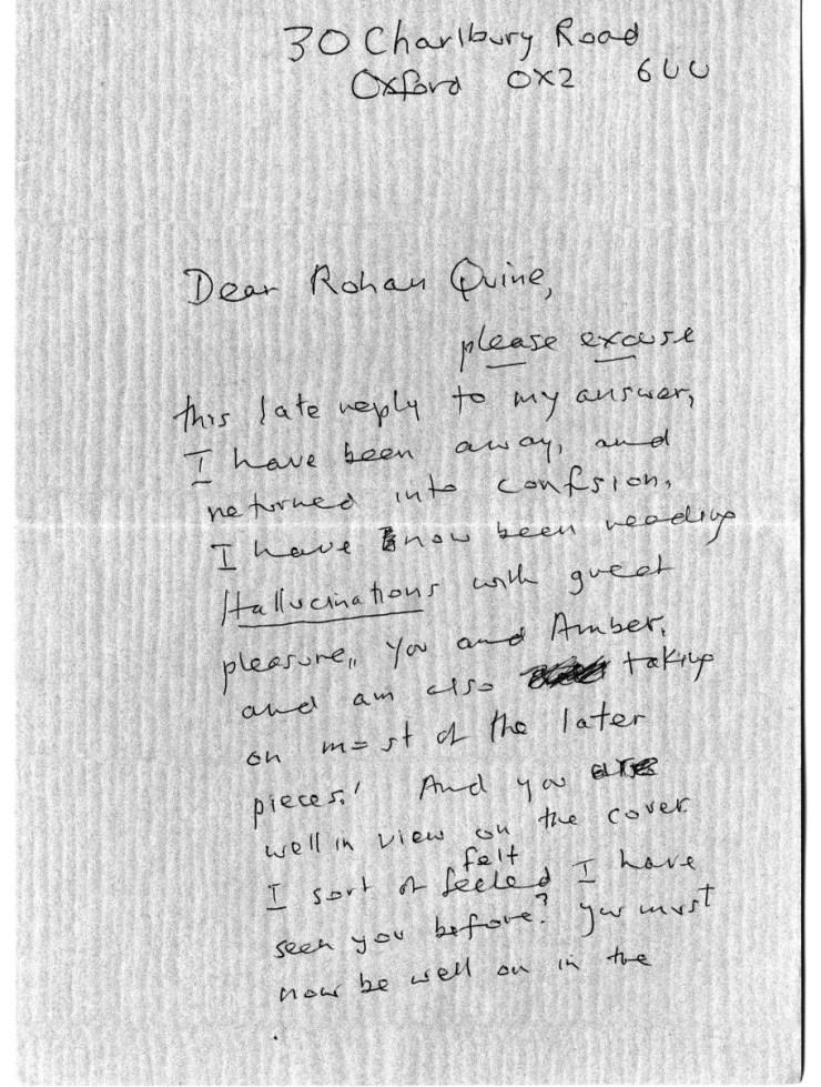 Iris Murdoch's letter to Rohan Quine, 1st side