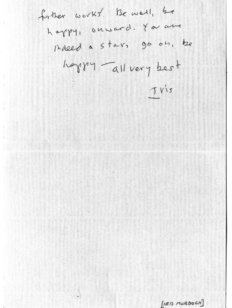Iris Murdoch's letter to Rohan Quine, 2nd side