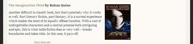 JJ Marsh's blog review of 'The Imagination Thief' by Rohan Quine - 2
