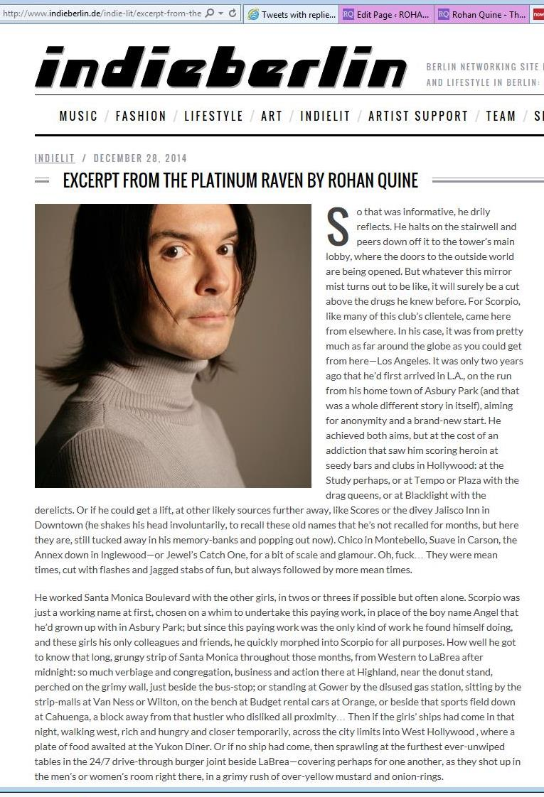 "Rohan Quine's ""The Platinum Raven"" in ""indieberlin"" - 1"