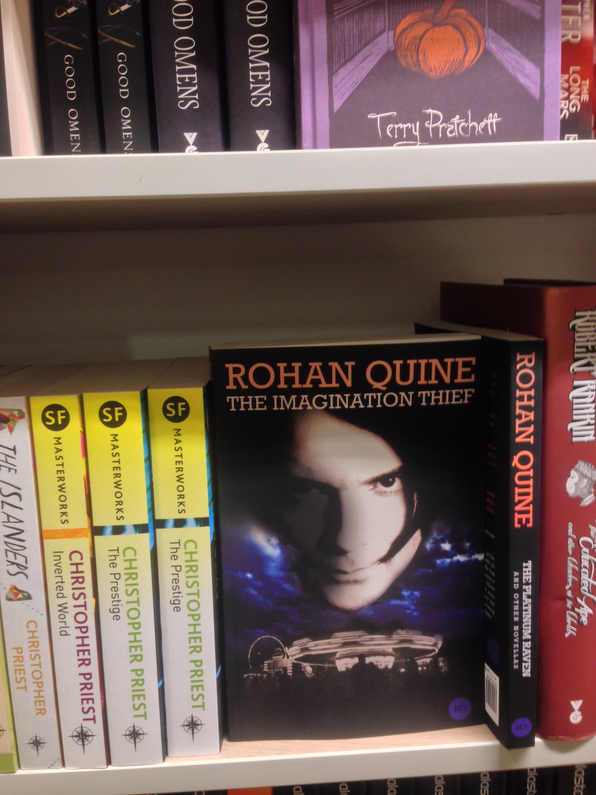 "Rohan Quine's ""The Imagination Thief"" in Foyles' Fantasy/SciFi section"