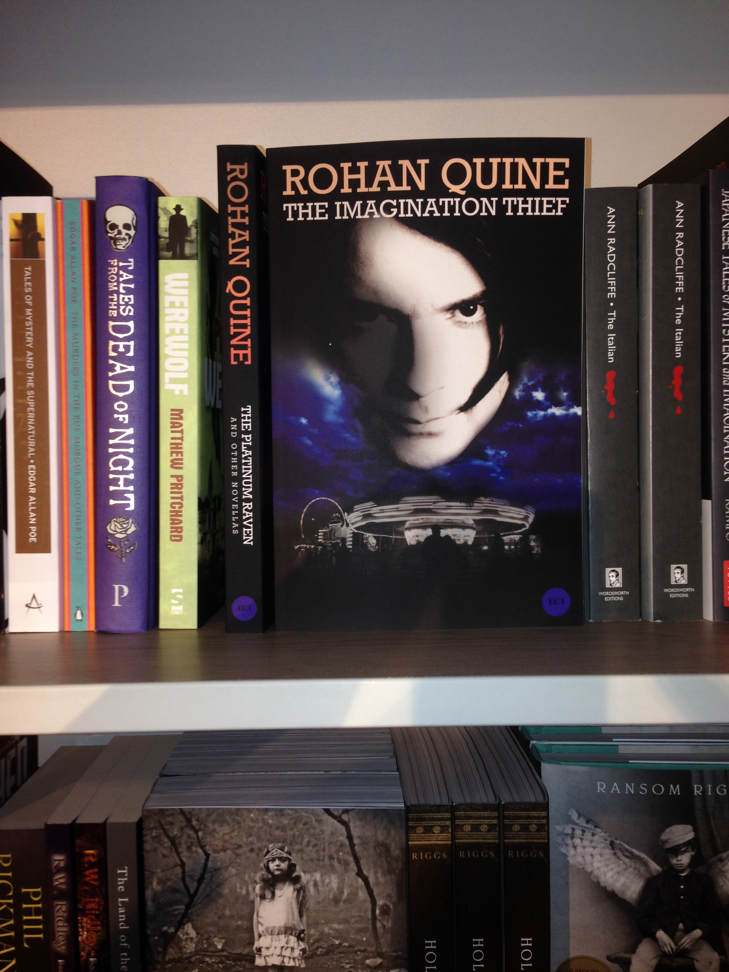 "Rohan Quine's ""The Imagination Thief"" in Foyles' Horror section"