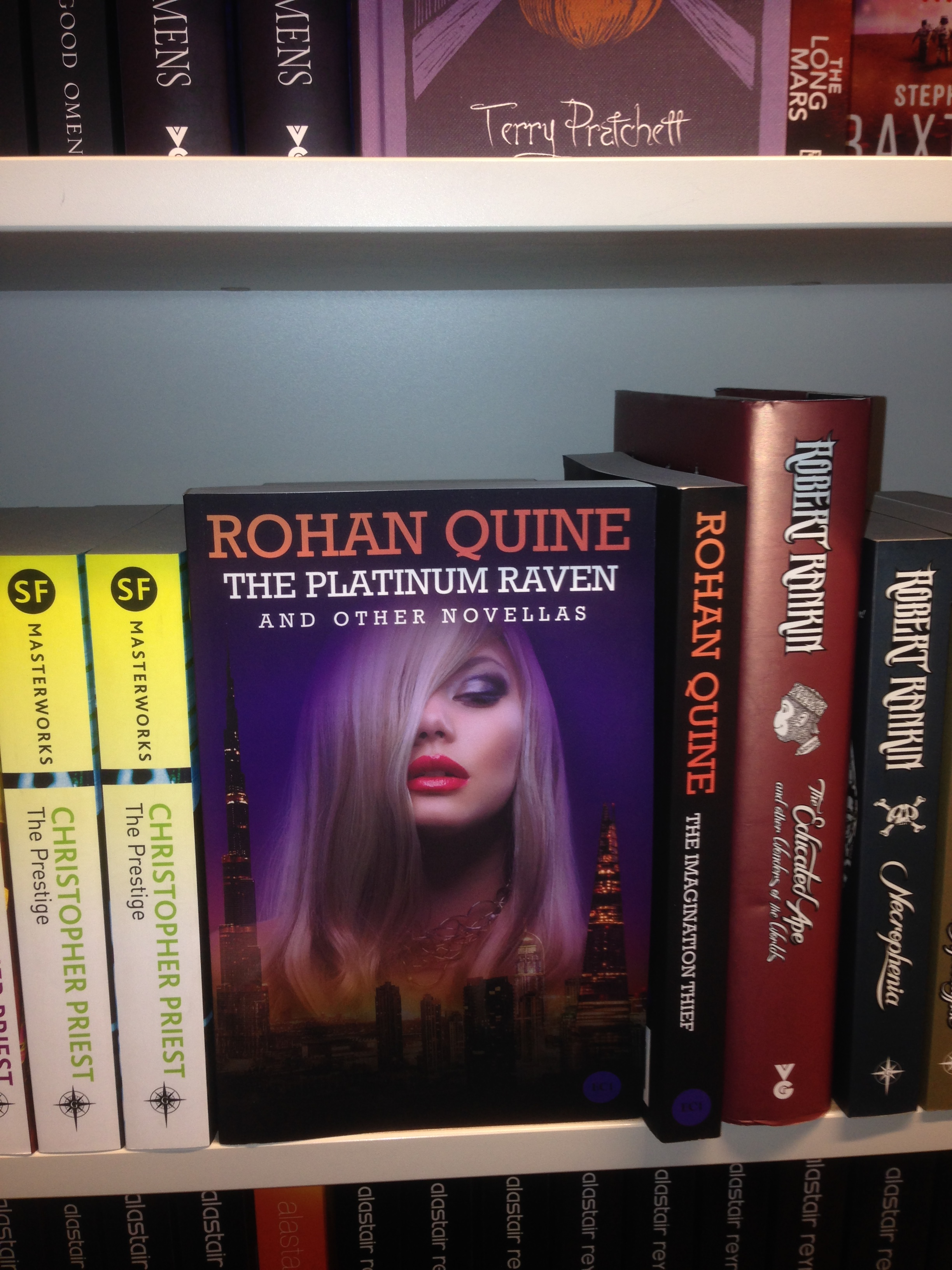 "Rohan Quine's ""The Platinum Raven and other novellas"" in Foyles' Fantasy/SciFi section"