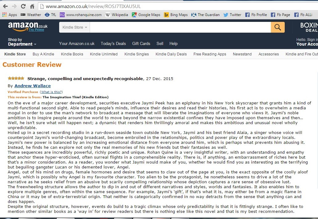 """Andrew Wallace's Amazon review of """"The Imagination Thief"""""""