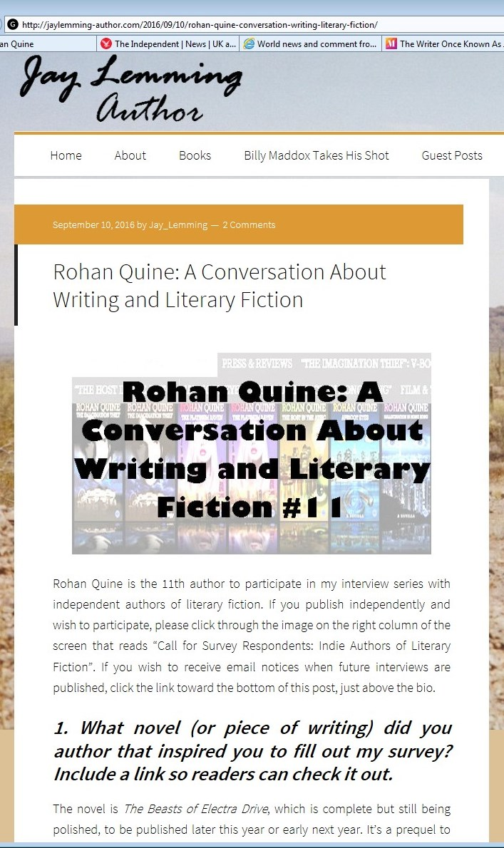 Rohan Quine interviewed by Jay Lemming 1