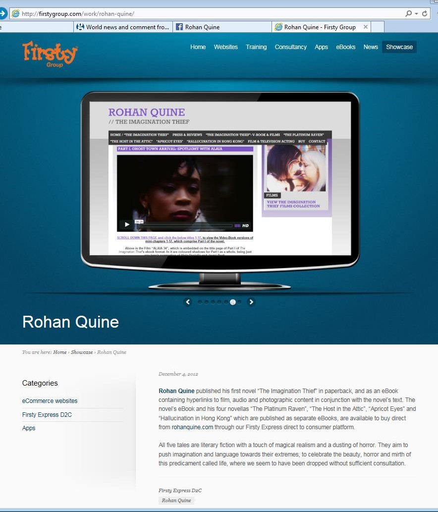 Rohan Quine's website in Firsty Express showcase 1