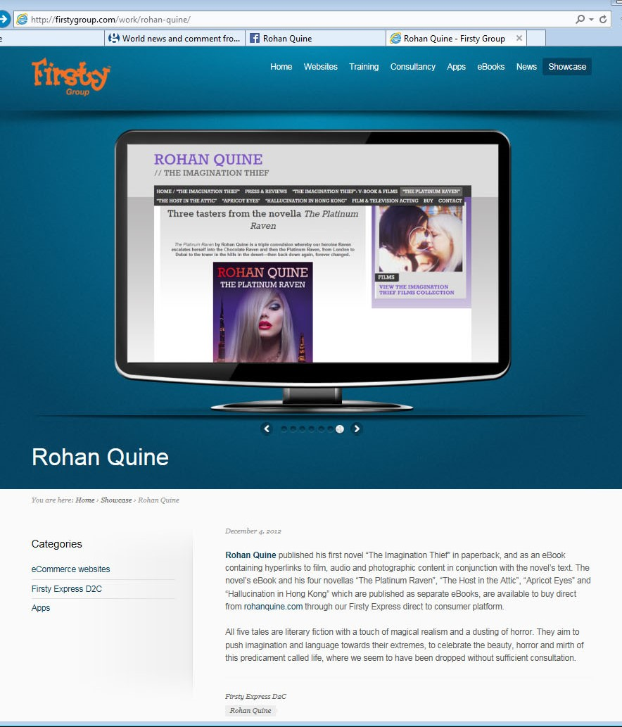 Rohan Quine's website in Firsty Express showcase 3