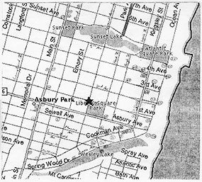 "Locations in Rohan Quine's ""The Imagination Thief"", identified on map of Asbury Park"