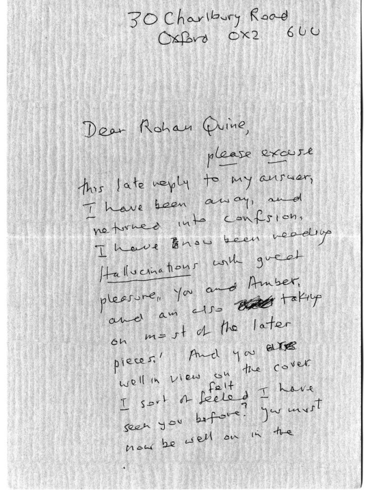 Iris Murdoch's letter to Rohan Quine, 1st side