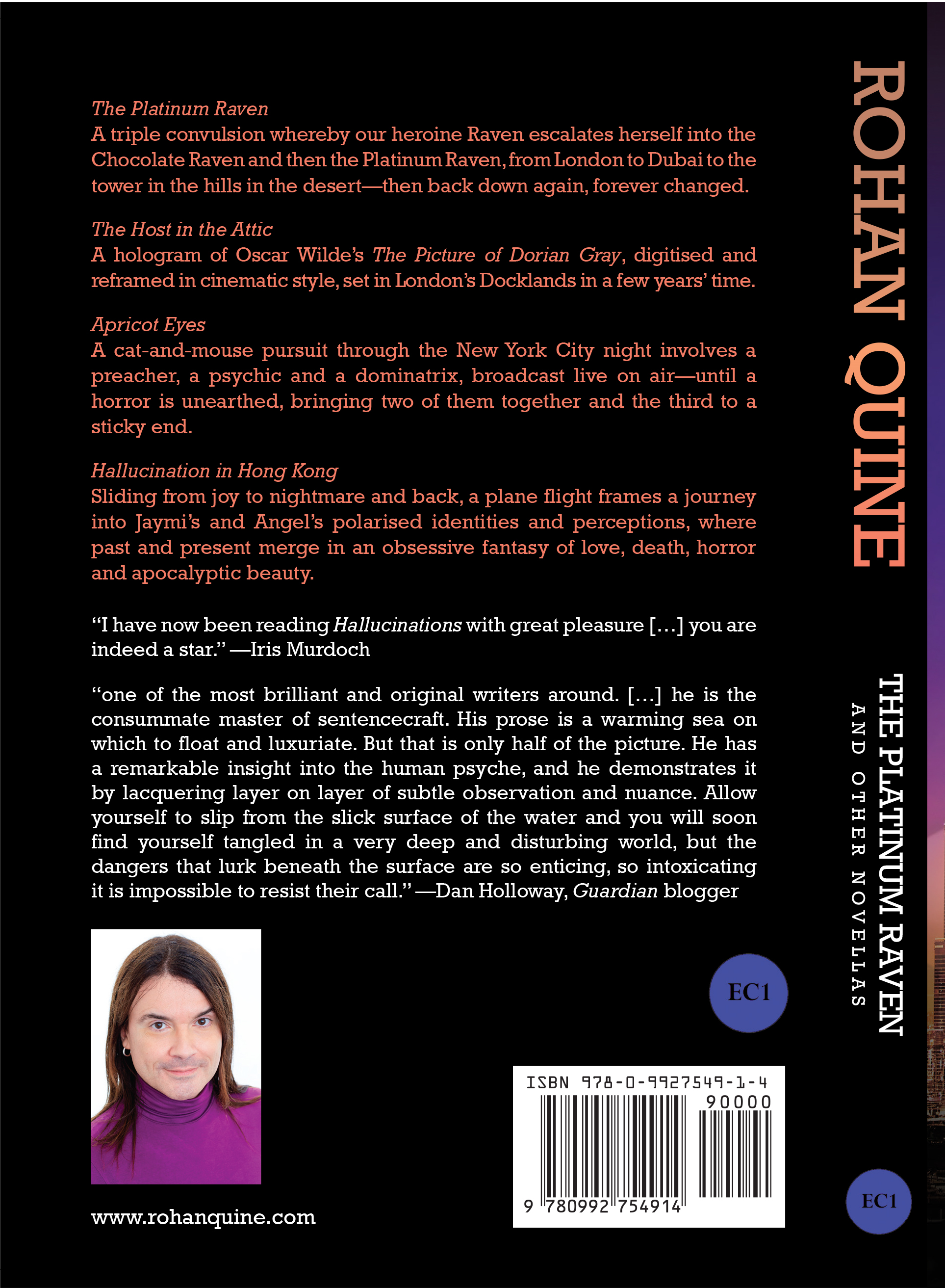 Rohan Quine - The Platinum Raven and other novellas - paperback back cover (literary fiction, magical realism, horror)