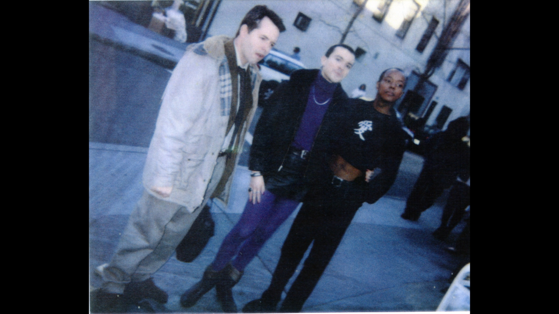 "Matthew Broderick, Rohan Quine and [name unknown] on the set of ""Election"""