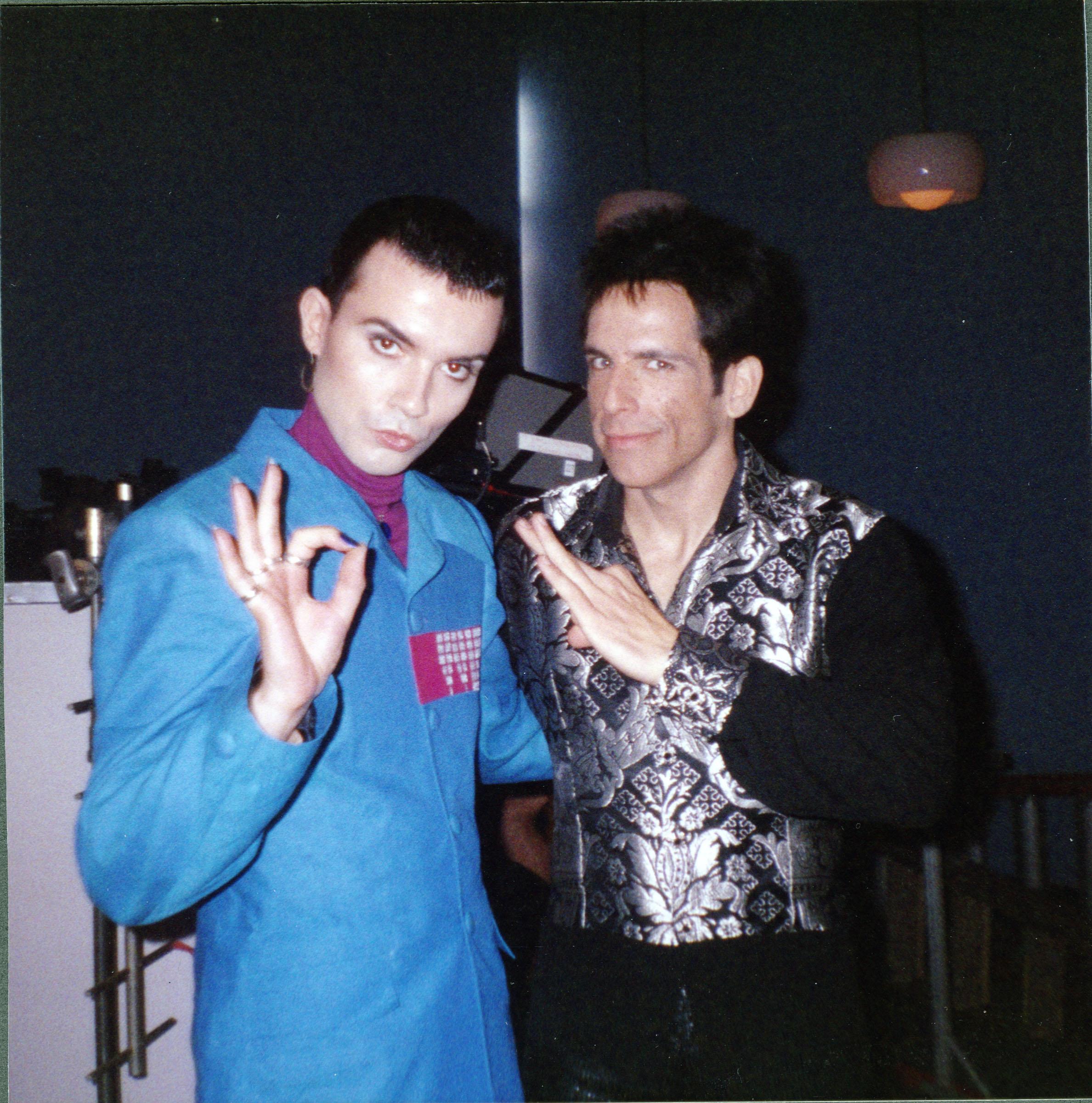 "Rohan Quine and Ben Stiller on the set of ""Zoolander"""