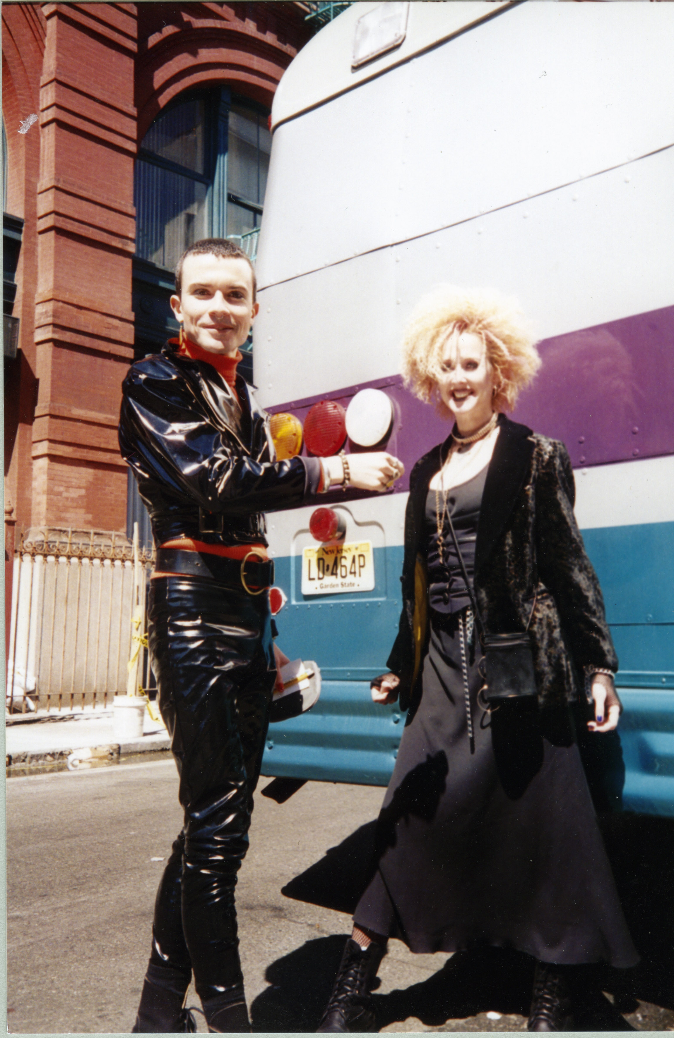"""Rohan Quine and [name unknown] on the set of """"Destination Anywhere"""""""