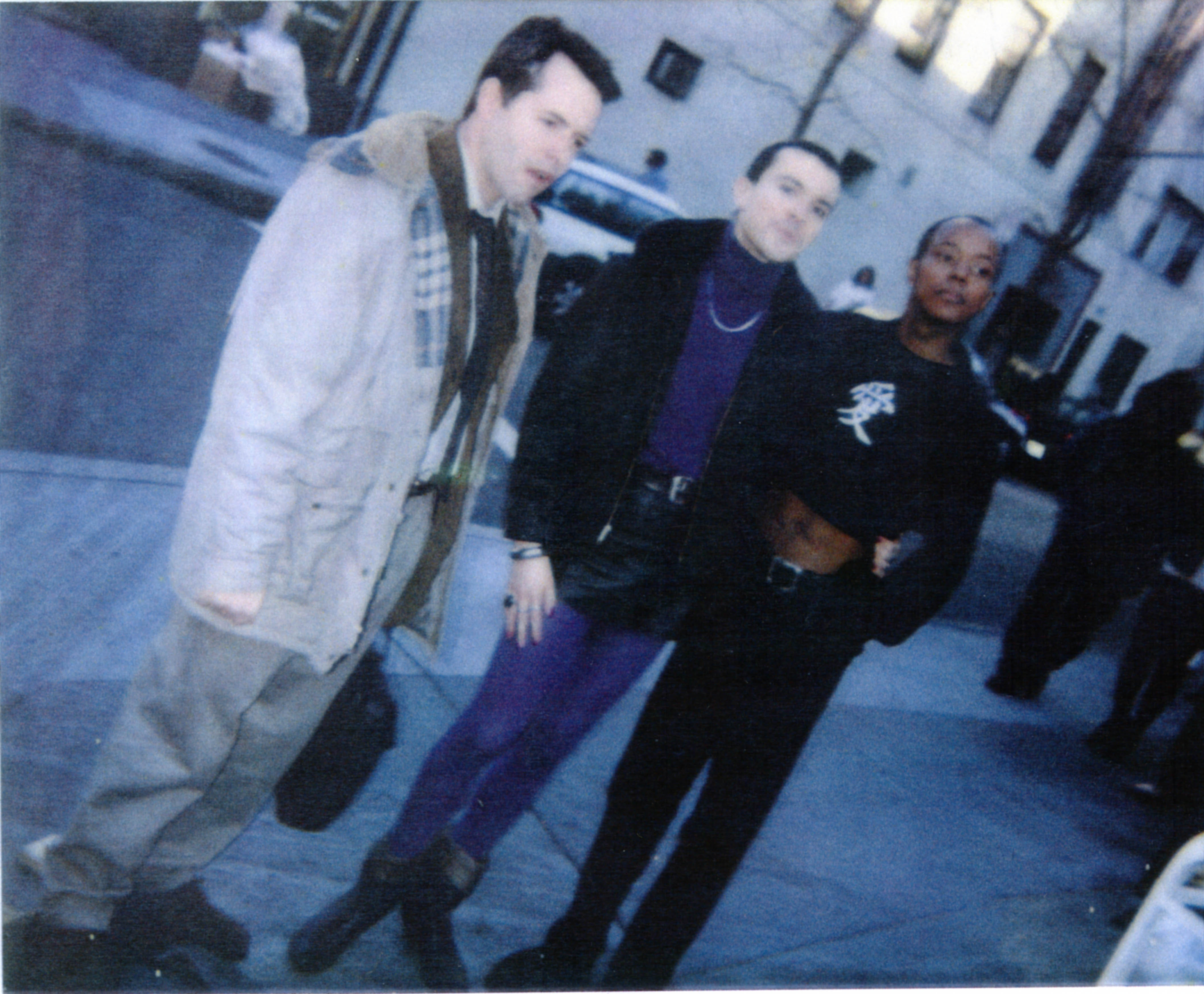 """Matthew Broderick, Rohan Quine and [name unknown] on the set of """"Election"""""""