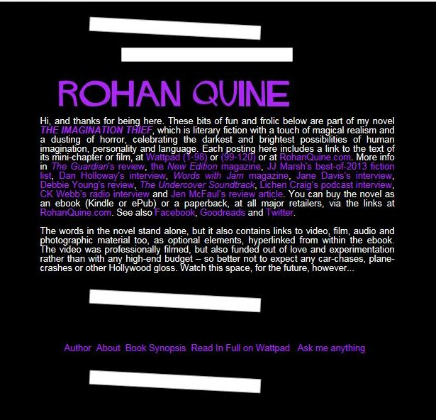 Rohan Quine's Tumblr for 'The Imagination Thief' (1) - introduction (literary fiction, magical realism, horror)