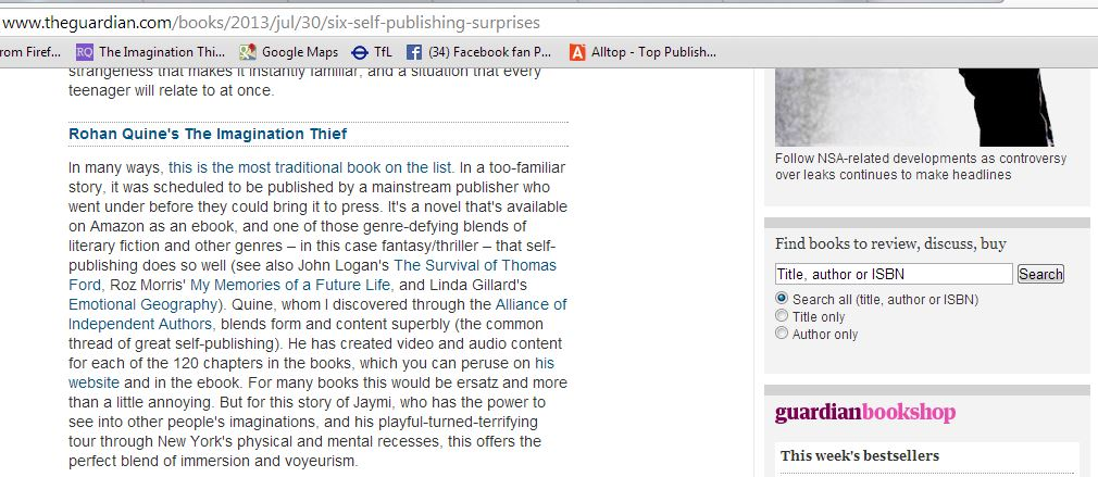 Dan Holloway's write-up of 'The Imagination Thief' by Rohan Quine, in 'The Guardian'
