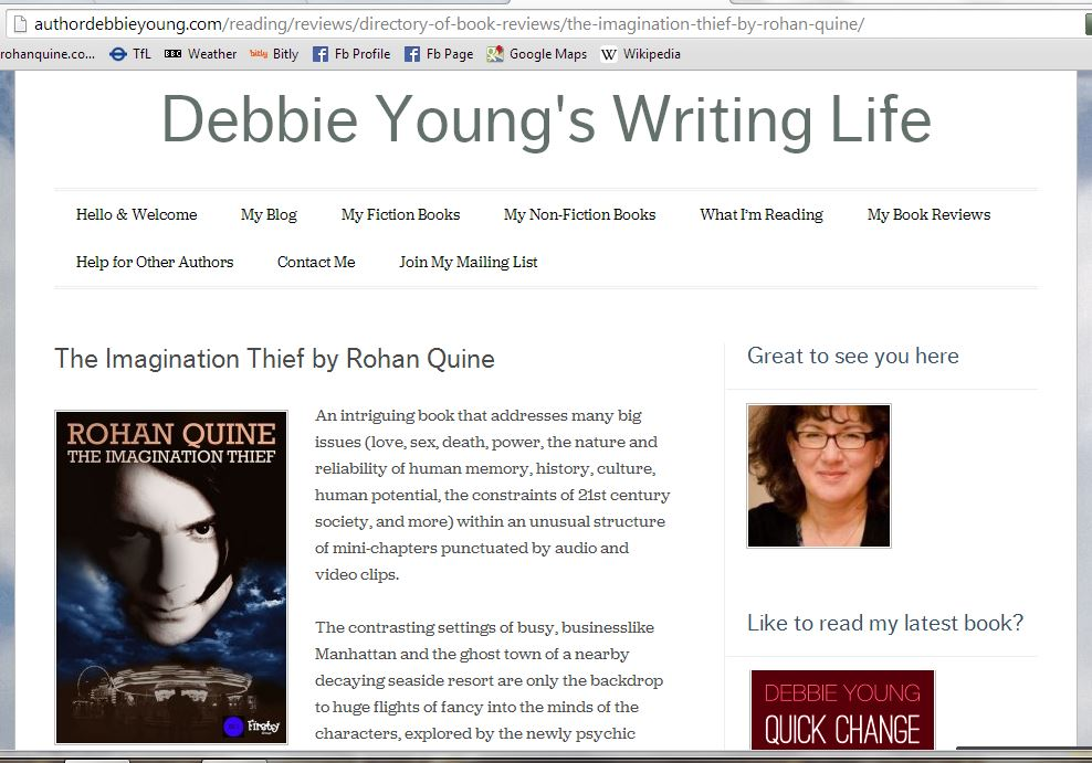 Debbie Young's blog review of 'The Imagination Thief' by Rohan Quine - 1