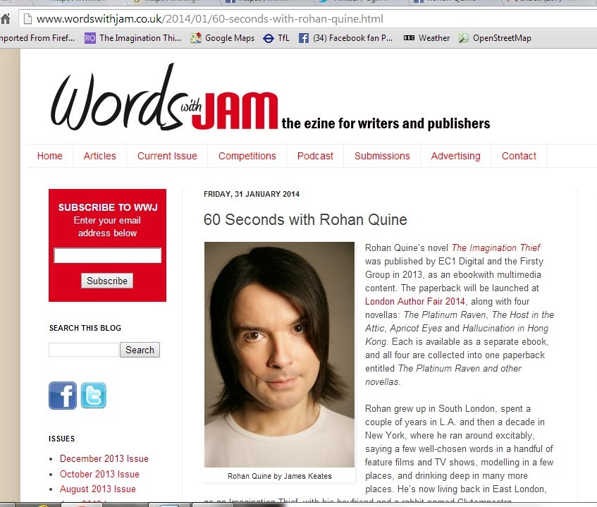 JJ Marsh's interview with Rohan Quine in 'Words with Jam' magazine - 1