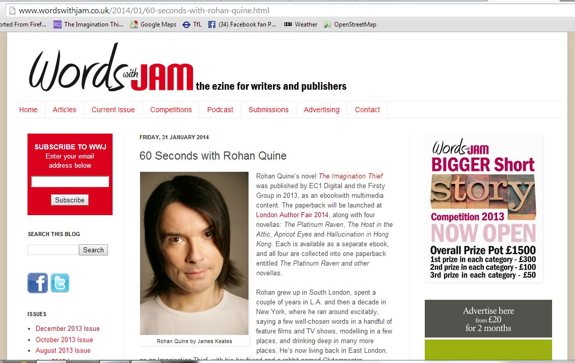 JJ Marsh's interview with Rohan Quine in 'Words with Jam' magazine