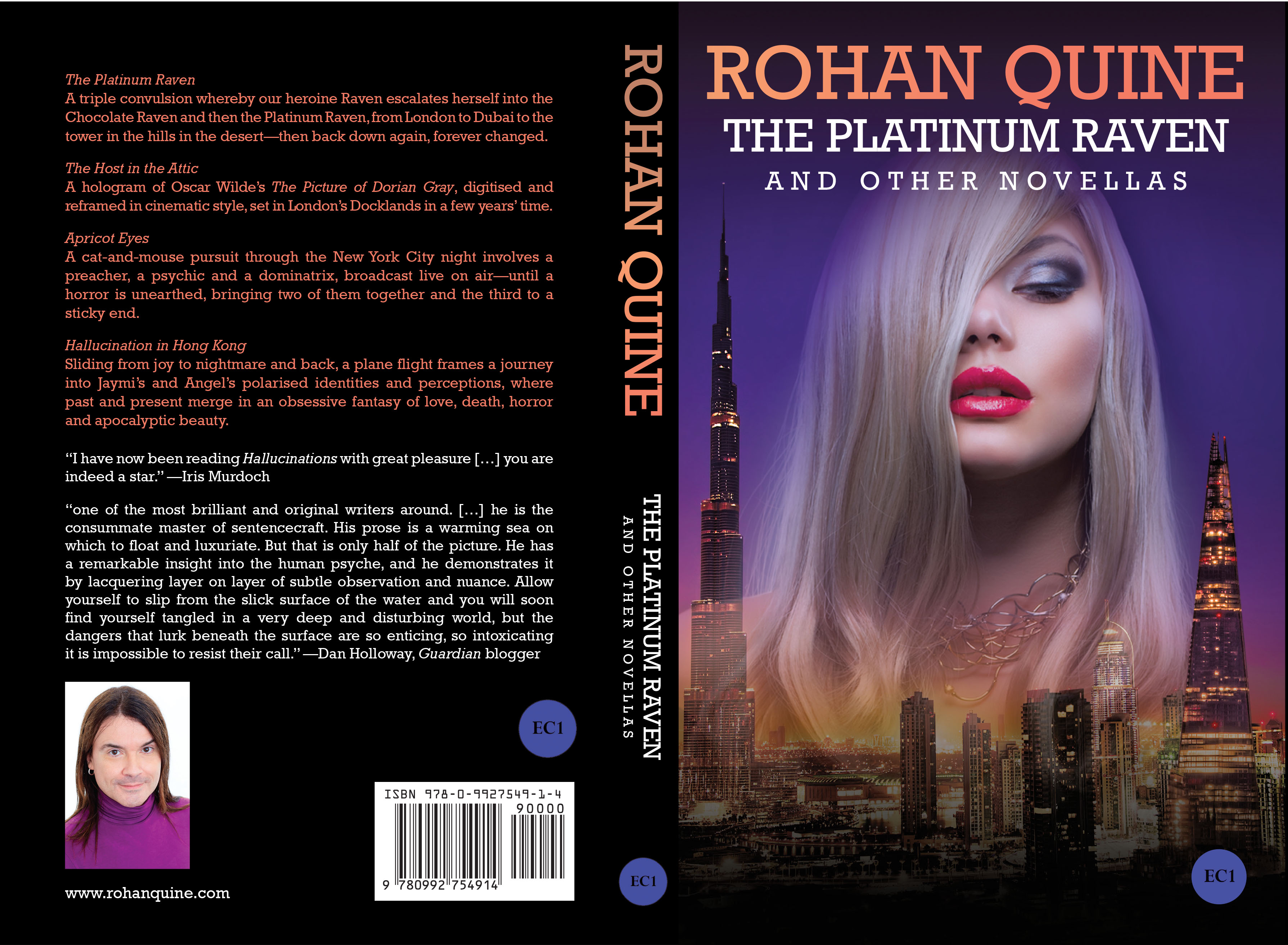Rohan Quine - The Platinum Raven and other novellas - paperback full cover (literary fiction, magical realism, horror)