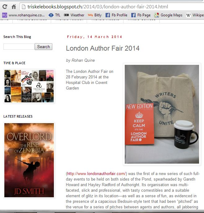Rohan Quine - article on London Author Fair 2014 at Triskele Books blog 1