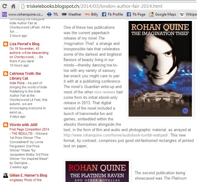 Rohan Quine - article on London Author Fair 2014 at Triskele Books blog 2