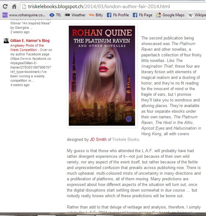 Rohan Quine - article on London Author Fair 2014 at Triskele Books blog 3
