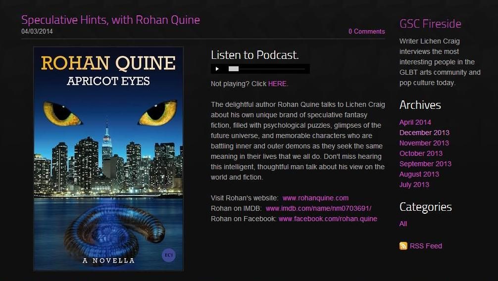 Rohan Quine on 'Fireside' podcast with Lichen Craig