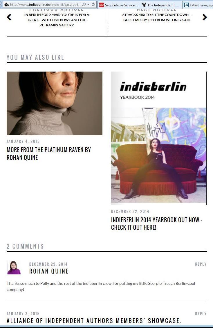 "Rohan Quine's ""The Platinum Raven"" in ""indieberlin"" - 3"
