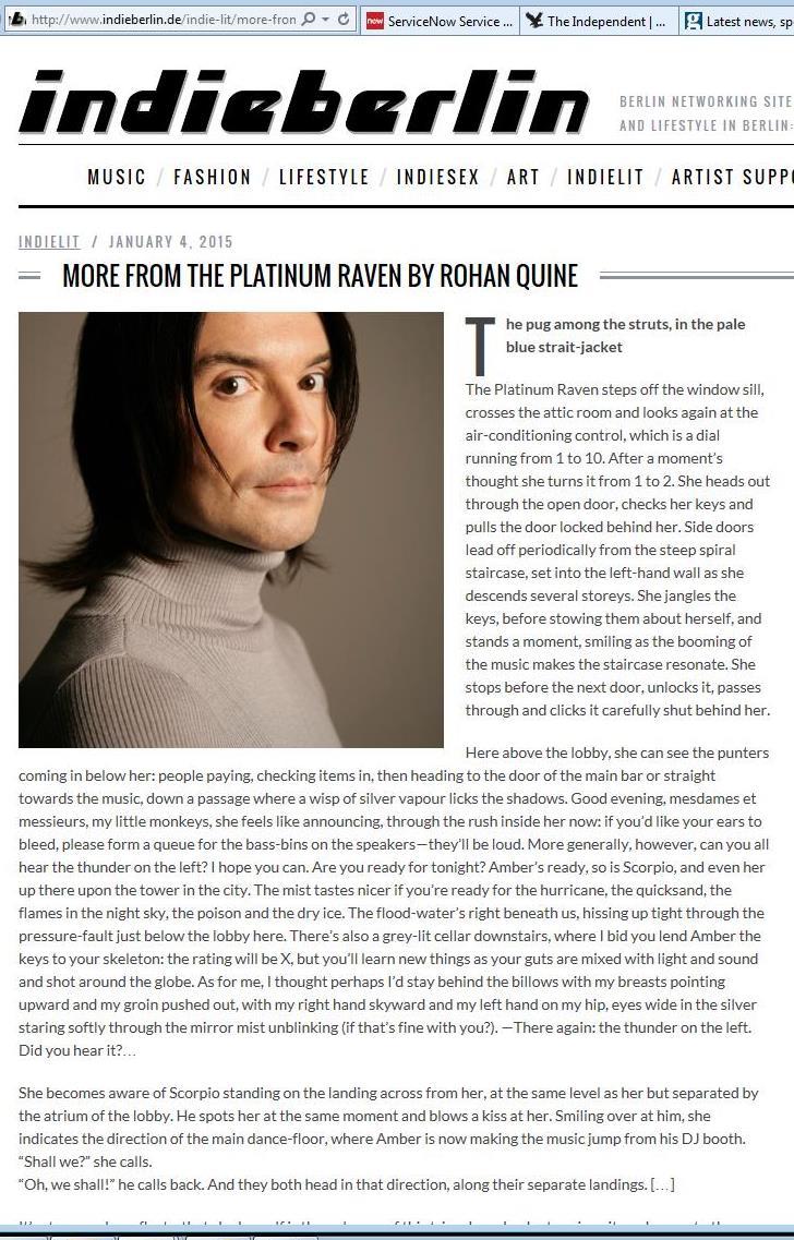 Second excerpt from Rohan Quine's 'The Platinum Raven' in 'indieberlin' - 3