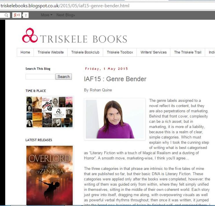 Rohan Quine as Genre Bender in Triskele Books blog