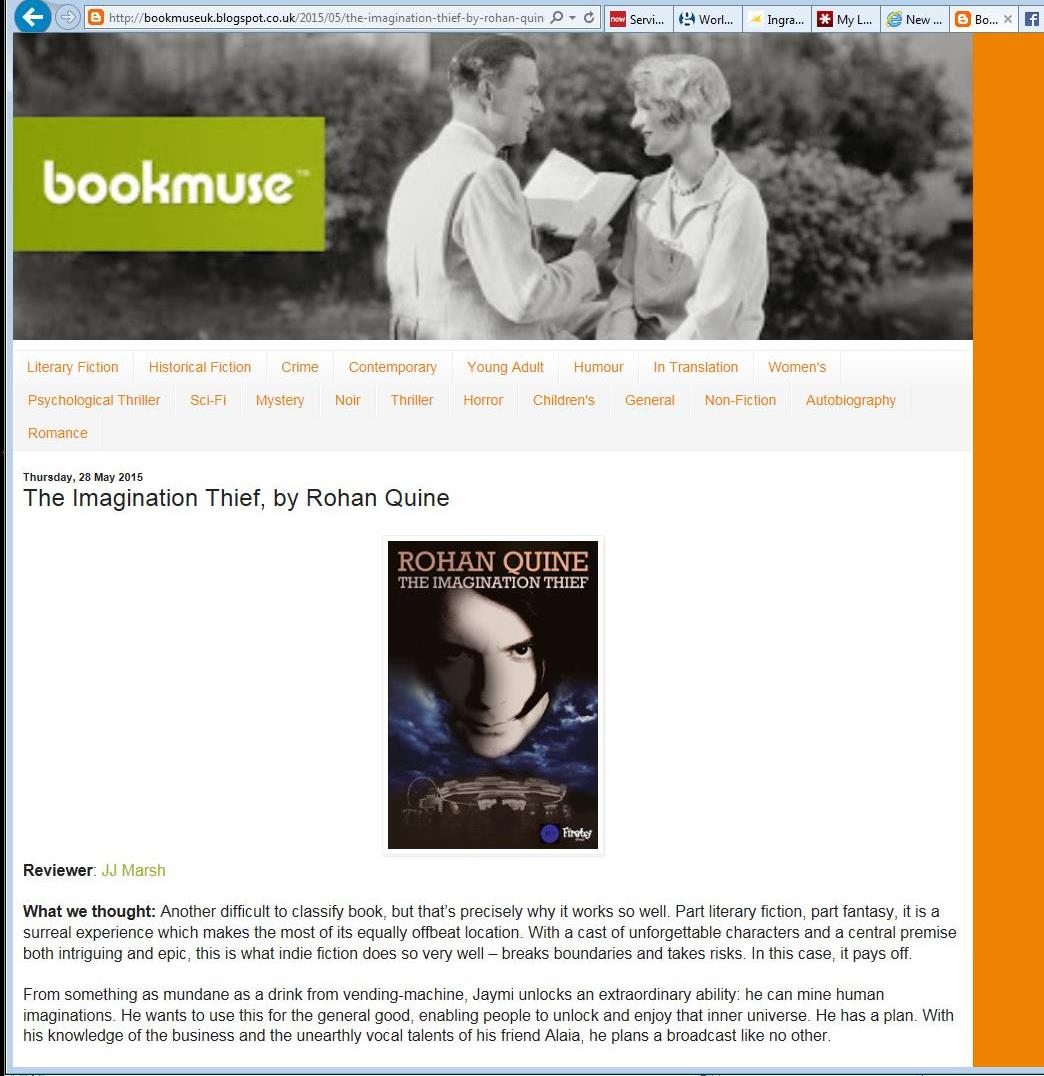 Jill Marsh's review of Rohan Quine's 'The Imagination Thief' in 'Bookmuse' 1
