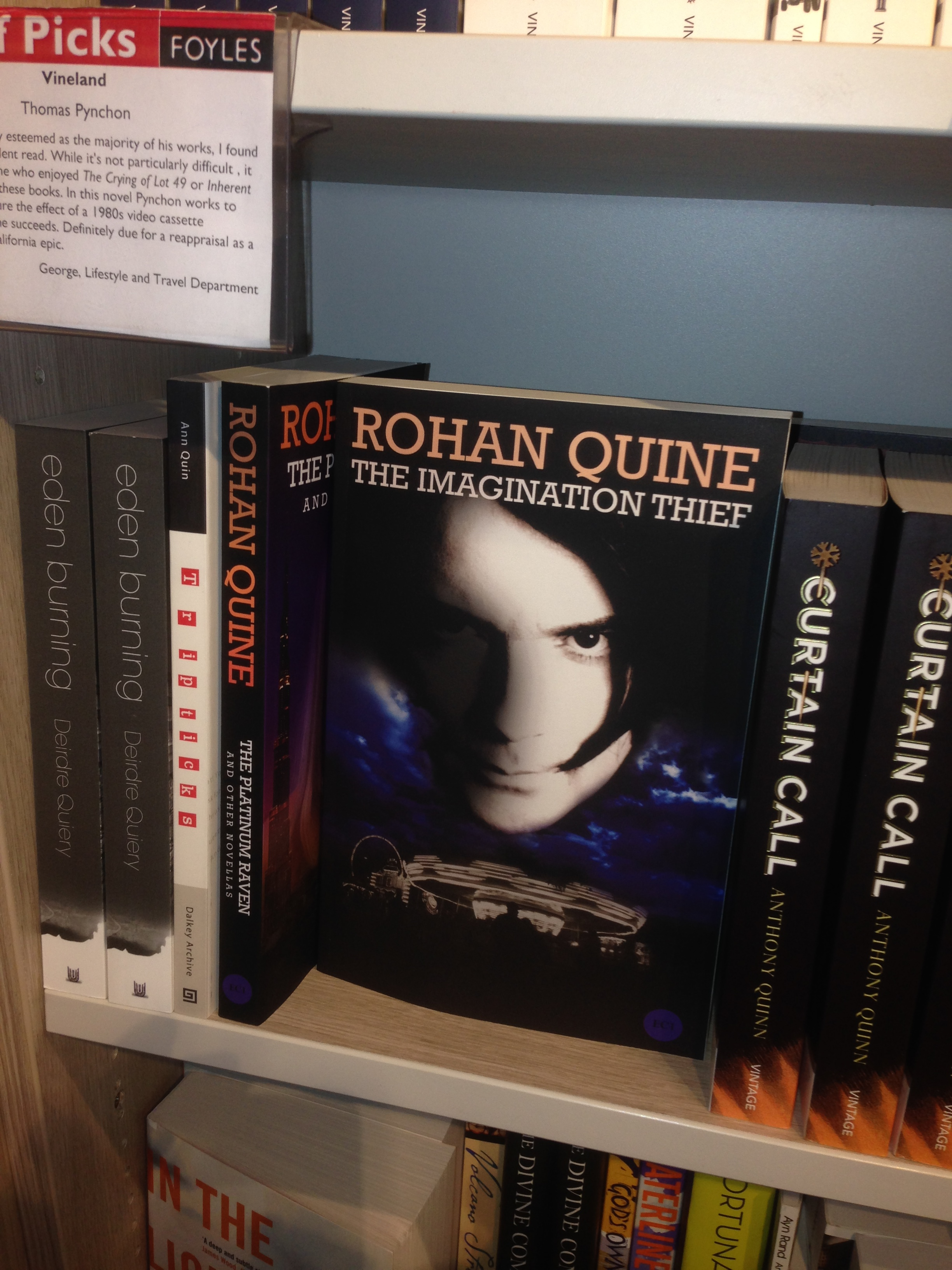 "Rohan Quine's ""The Imagination Thief"" in Foyles' Fiction section"