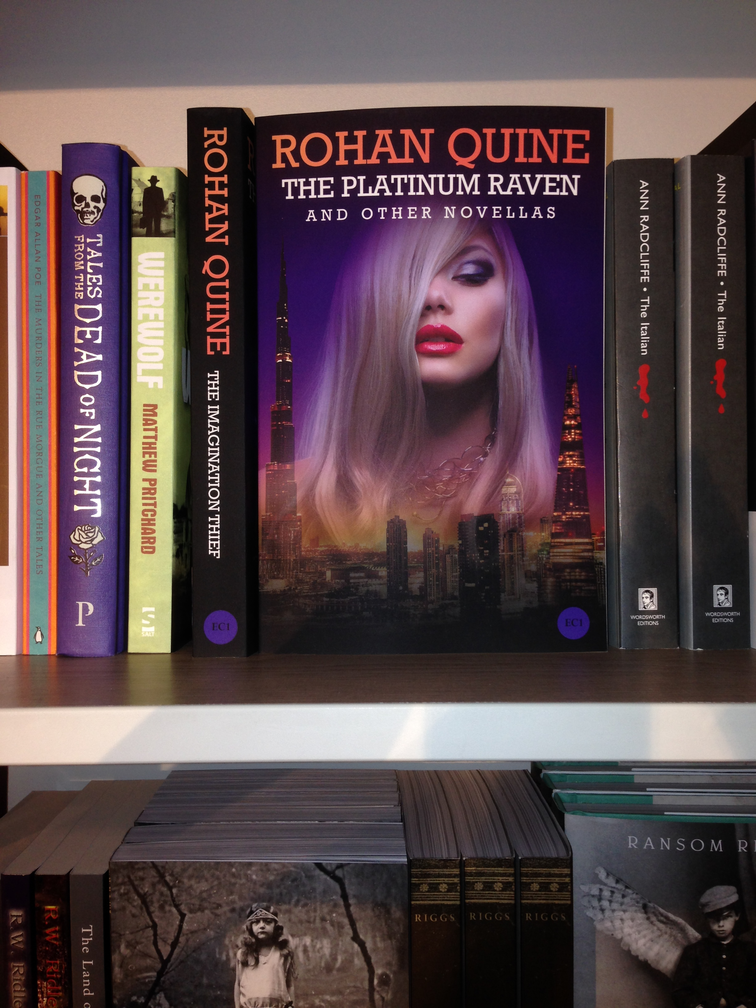 "Rohan Quine's ""The Platinum Raven and other novellas"" in Foyles' Horror section"