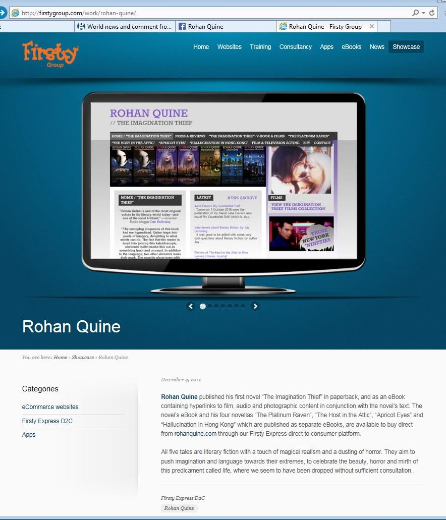Rohan Quine's website in Firsty Express showcase 2