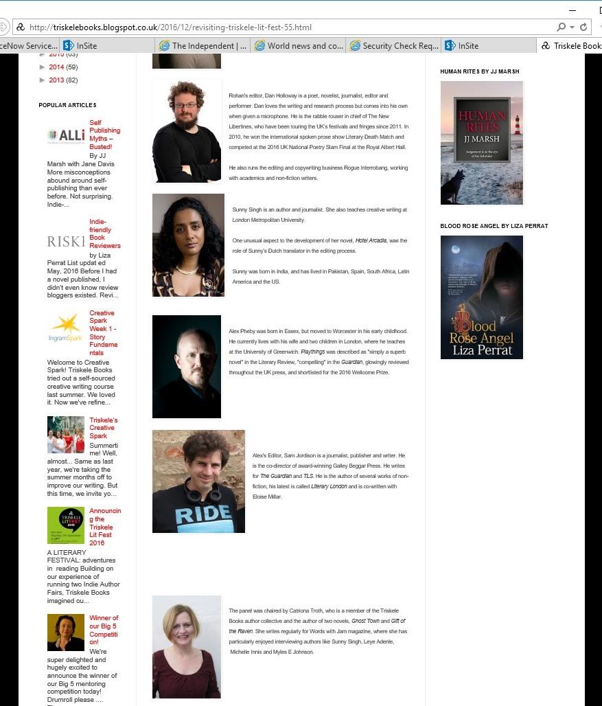 Rohan Quine, Dan Holloway, Sunny Singh, Alex Pheby, Sam Jordison and Catriona Troth, 'Preserving the Unicorn' Literary Fiction panel, at Triskele Books' Triskele LitFest 2016, London