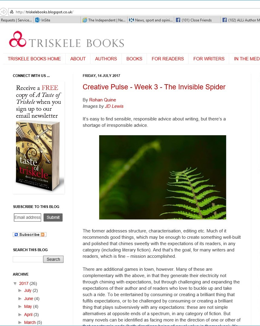 Rohan Quine's 'The Invisible Spider' in Triskele's 'Creative Pulse' - 1