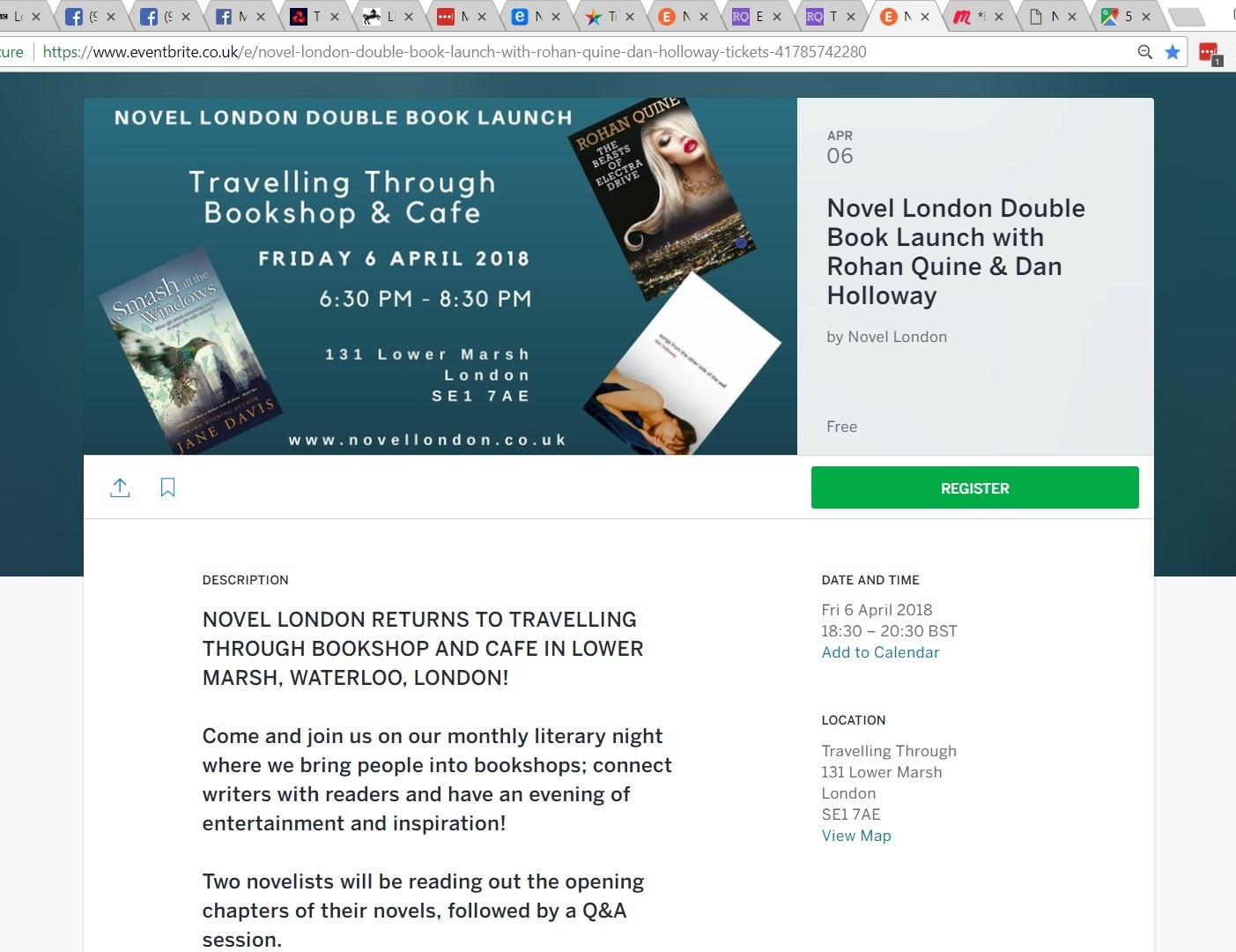Eventbrite invitation to Rohan Quine's and Dan Holloway's 06-04-18 launch at Travelling Through - 1