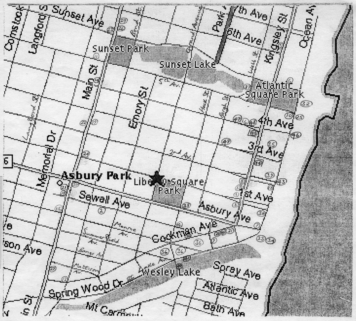 Map of Asbury Park, as it was captured in Rohan Quine's novel 'The Imagination Thief' (literary fiction, magical realism, horror)
