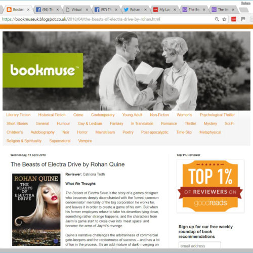 Review of Rohan Quine's 'The Beasts of Electra Drive', by Catriona Troth at 'Bookmuse'