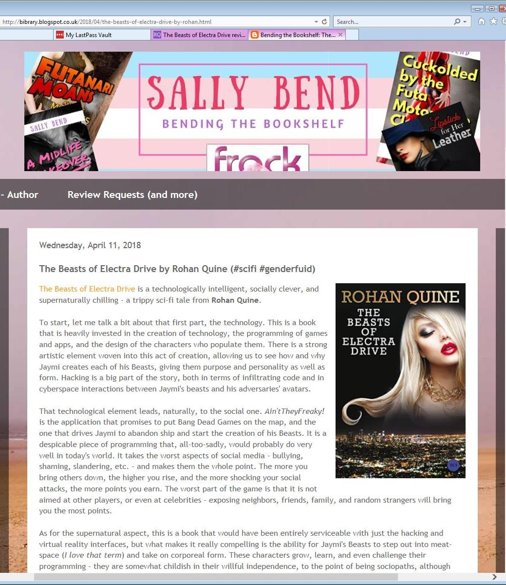 Review of Rohan Quine's 'The Beasts of Electra Drive', by Sally Bend at 'Bending the Bookshelf' - 1