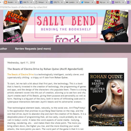 Review of Rohan Quine's 'The Beasts of Electra Drive', by Sally Bend at 'Bending the Bookshelf'