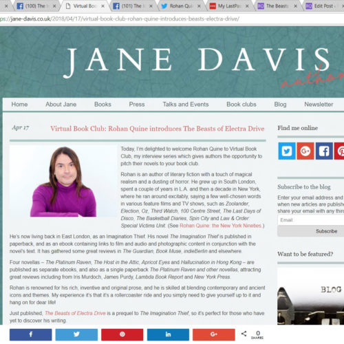 Rohan Quine interviewed about 'The Beasts of Electra Drive', by Jane Davis