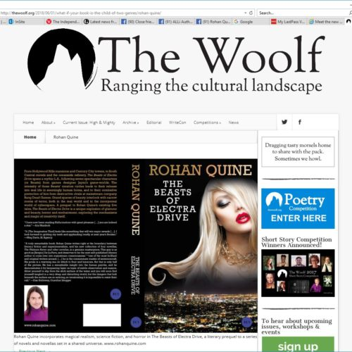 """""""The Beasts of Electra Drive"""" by Rohan Quine, in literary magazine """"The Woolf"""""""