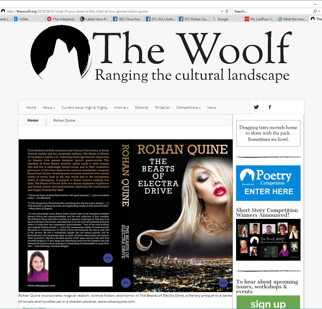 """The Beasts of Electra Drive"" by Rohan Quine, in literary magazine ""The Woolf"""