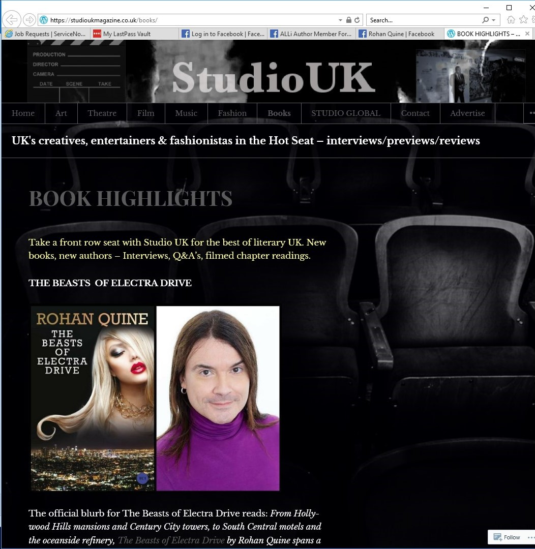 "Rohan Quine's ""The Beasts of Electra Drive"" in Studio UK magazine - 1"
