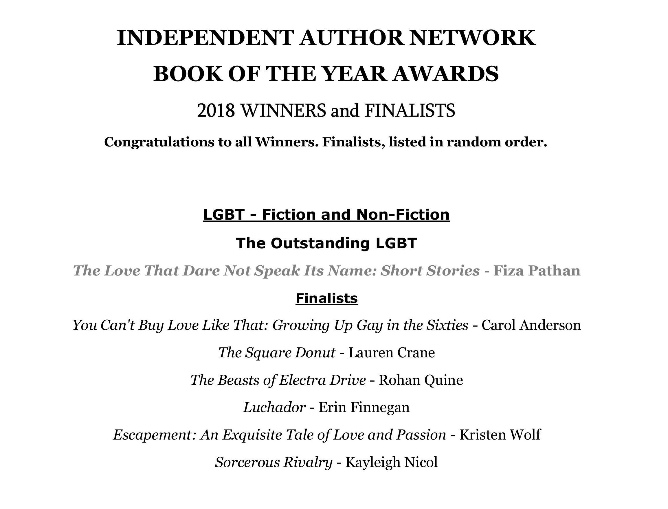 Rohan Quine's 'The Beasts of Electra Drive' as Finalist in IAN Book of the Year Awards 2018