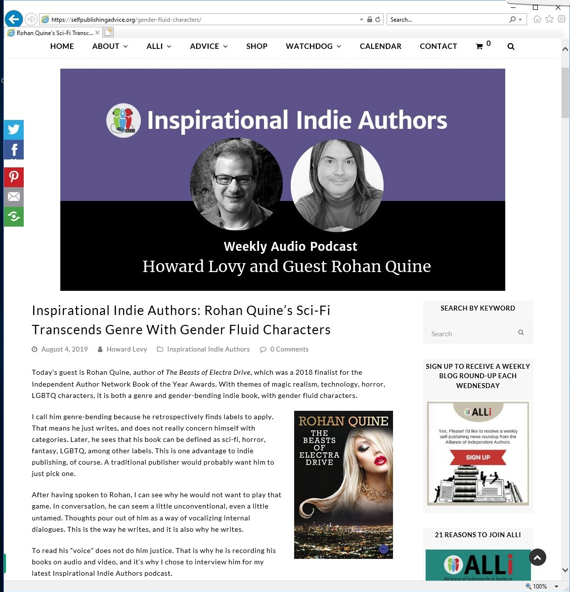 Rohan Quine on Howard Lovy's 'Inspirational Indie Authors' podcast - 1