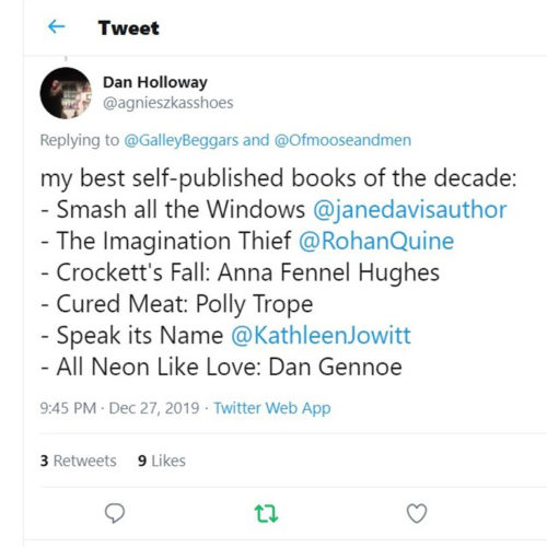 Dan Holloway's best-of-decade list for the 'Teens, including Rohan Quine's 'The Imagination Thief' (with reply)